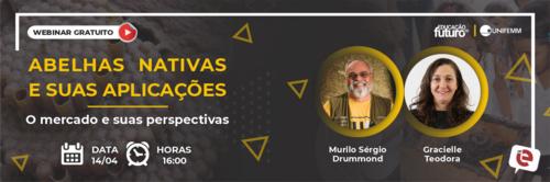 """""""Abelhas Nativas e suas aplicações: o mercado e suas perspectivas"""" é o tema da live desta quarta-feira, 14/04!"""